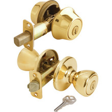 Kwikset Tylo Entry and Double Cylinder Deadbolt Brass