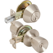 Shield Security Tulip Entry Single Cylinder Deadbolt Combo Satin Nickel