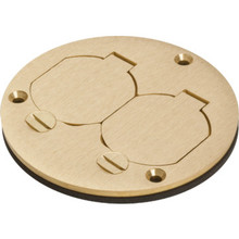 Round Floor Box Cover with Lift Lids - Brass