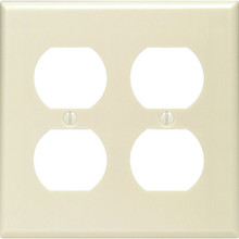 Hubbell Double Gang Duplex Receptacle Wall Plate - Ivory - Package of 25