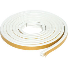 "9/16""W x 5/16""H x 10' Extreme Rubber Weatherstrip Tape White"