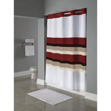 Red Roof Inn Stripe Shower Curtain 71 x 77