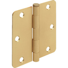 "3-1/2"" Residential Plain Bearing Door Hinge Satin Brass 1/4"" Radius Corner Pkg/2"