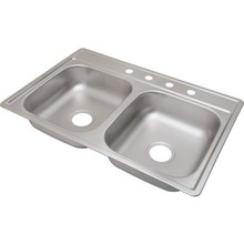 "Aspen 22 X 33"" Double Bowl Kitchen Sink Stainless Steel 4 Hole 6"" Depth"