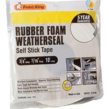 """3/8""""W x 5/16""""H x 10'L Sponge Rubber Foam Tape White"""