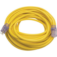 50' Yellow Outdoor Extension Cord with Primelight Indicator Light - 12/3 SJTW