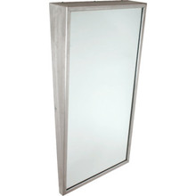 "Bobrick Framed Angled Mirror 18 x 30"" Satin Stainless Steel"