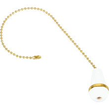 "Pull Chain Brass 12"" White and Brass Pack of 4"