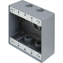 "Dbl Gang 1/2"" 5-Hole Weatherproof Box"