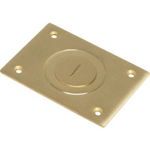 """Brass Floor Box Cover With Slotted Combo Plug - 2-3/4W X 4-1/2""""D"""