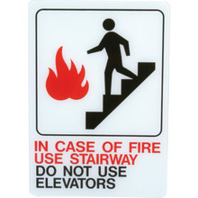 """Plastic """"In Case Of Fire Use Stairway"""