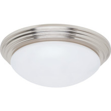 "1 Light 27WFluorescent Flush Mount Fixture Brushed Nickel White 14"" Diameter"