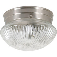 1 Light Flush Mount Fixture Brushed Nickel Clear Prismatic Glass 6""