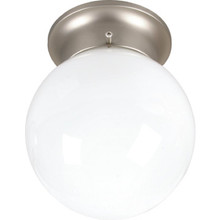 1 Light Flush Mount Fixture Brushed Nickel Opal Glass 6""