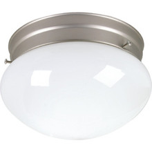 1 Light Flush Mount Fixture Brushed Nickel White Glass 6""