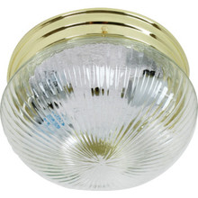 1 Light Flush Mount Fixture Polished Brass Clear Ribbed Glass 6""