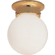 1 Light Flush Mount Fixture Polished Brass Opal Glass 6""