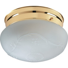 1 Light Flush Mount Fixture Polished Brass Satin Grape Glass 7-1/4""