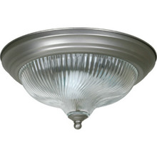 1 Light Flush Mount Fixture Satin Nickel Clear Swirl-Ribbed Glass 11-1/4""