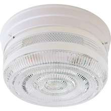 1 Light Flush Mount Fixture White Clear And White Glass 8""