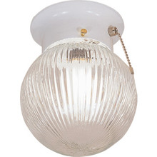 1 Light Flush Mount Fixture White Clear Prismatic Glass 6""