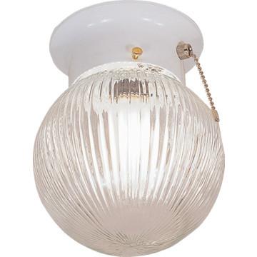 "1 Light Flush Mount Fixture White Clear Prismatic Glass 6"""