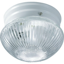 1 Light Flush Mount Fixture White Clear Ribbed Glass 6""