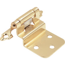 "1-1/2"" Self-Closing Exposed Inset Cabinet Hinge Polished Brass Package of 50"