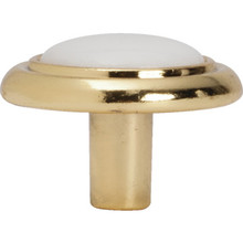 "1-1/4"" Cabinet Knob White/Polished Brass, Package of 5"