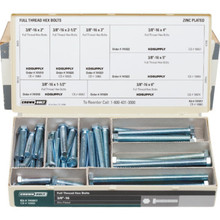 "3/8"" Full Thread Zinc Hex Bolt Assortment Kit"