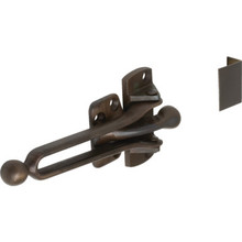 "2-1/16"" Cast Brass Door Slide Security Lock Dark Bronze"