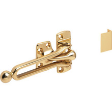 "2-1/16"" Cast Brass Door Slide Security Lock Polished Brass"