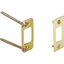 "1-1/8W x 2-3/4""H Deadlock Strike Plate Brass, Package of 2 Pairs"