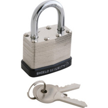 "Shield Security 1-1/2"" Keyed Different Steel Laminated Padlock"