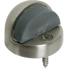 "Cast Brass Floor Door Stop 1/2"" Lip Satin Nickel"