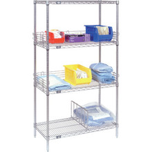 "Nexel Shelving Unit 63""Hx72""Wx18""D 4 Shelves Chrome Wire"