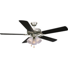"52"" Dual-Mount Ceiling Fan Satin Nickel Frosted Three-Light Kit"