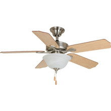 "Seasons 44"" Dual-Mount Ceiling Fan Brushed Nickel Bowl Light Kit"