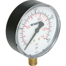 "Watts 3"" Dial 0-200 PSI Pressure Gauge With Bottom Mount"