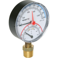 "Watts 3"" Dial 60-320 PSI Pressure And Temperature Gauge With Bottom Mount"