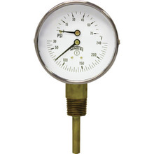 "Winters 3"" Dial Tridicator 0-200 PSI 30-240F With Bottom Mount"