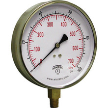 "Winters 4-1/2"" Dial 0-100 PSI Contractor Gauge With Bottom Mount"