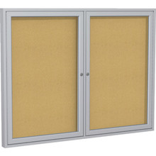 "Enclosed Satin Aluminum Frame Bulletin Board 36H x 24""W"