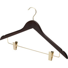 "17 x 1/2"" Standard Hook Female Hanger Dark Wood Package Of 100"