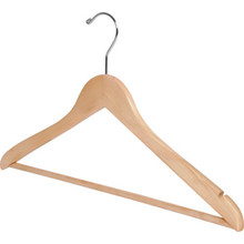 "18 x 1/2"" Standard Hook Male Hanger Natural Wood Package Of 100"