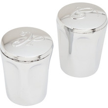 """Replacement For Harcraft Hot/Cold Shower Handles Chrome Finish 2-5/8"""" Height 2Pk"""