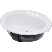 """Bootz 17 X 20"""" Oval Lavatory Sink White Porcelain Steel Package of 6"""