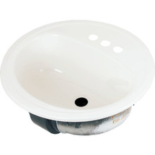 """Bootz 19"""" Round Lavatory Sink White Porcelain Steel Package of 6"""