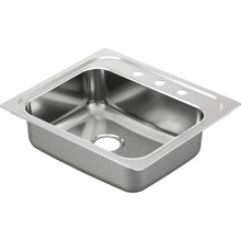 "Moen 22 x 25"" Single Bowl Stainless Steel Sink 3 Hole"