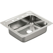 "Moen 22 x 25"" Single Bowl Stainless Steel Sink 4 Hole"